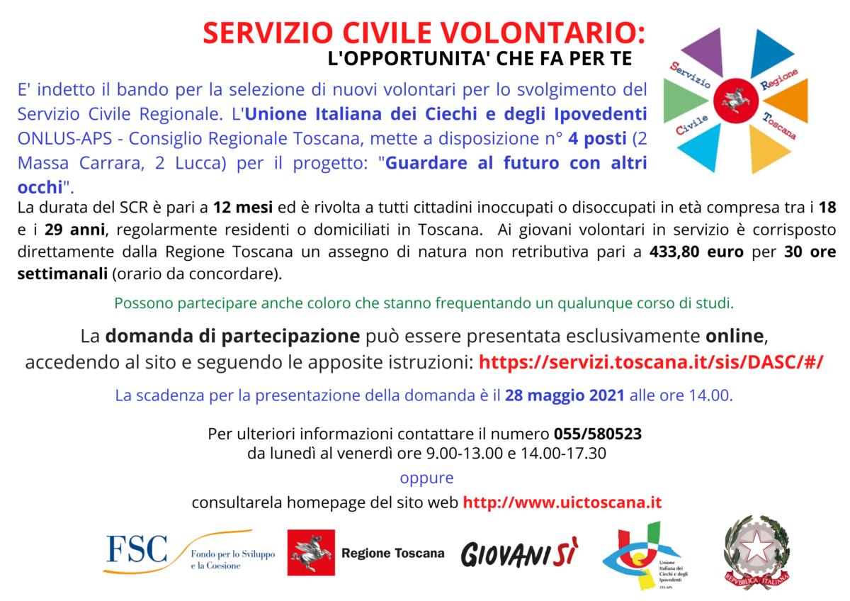 Bando per il Servizio Civile Regionale 2021/2022